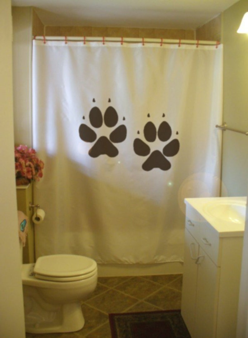 Dog Paw Print Shower Curtain Track Canine Pup Puppy Best