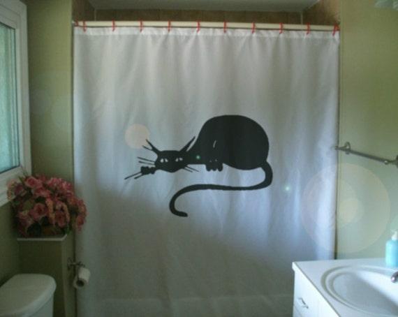 Black Cat Art Deco Shower Curtain Nouveau Classic Cartoon