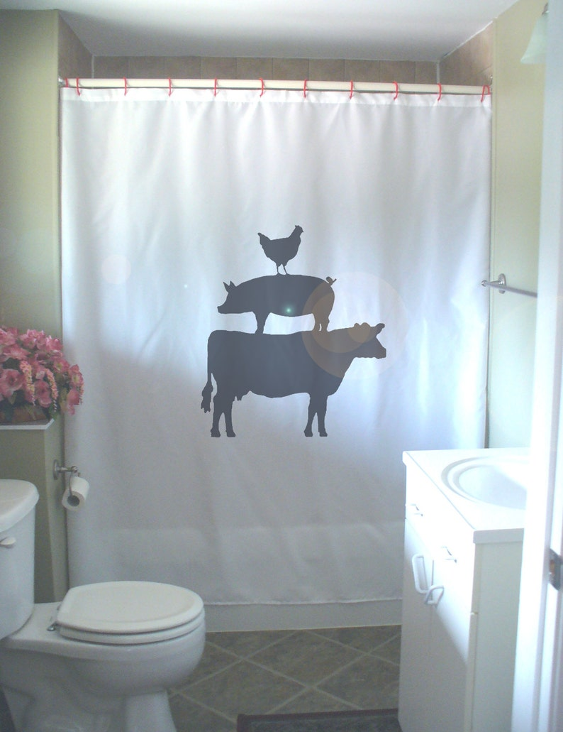 Animal Farm Shower Curtain Cow Chicken Pig Farmyard Farming