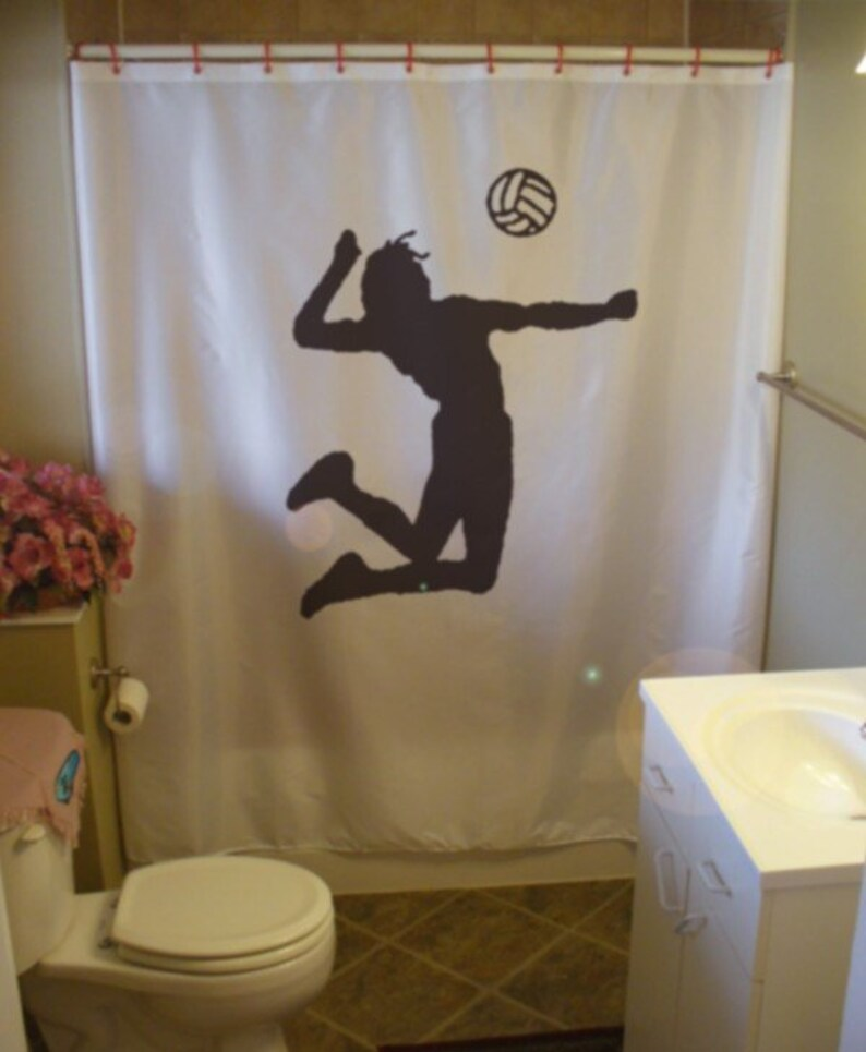 Volleyball Spike Shower Curtain Ace Jump Ball Game Sport Court