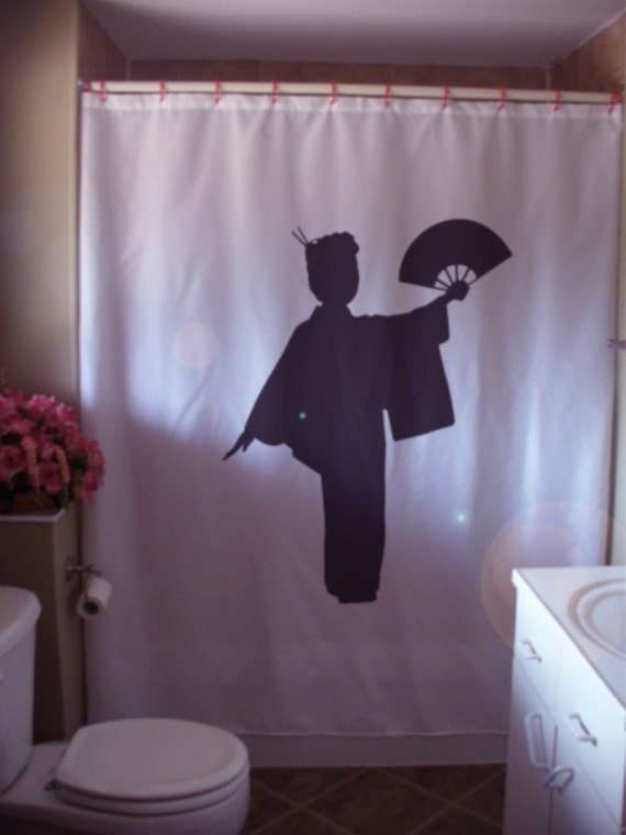 Geisha Fan Shower Curtain Lady Japan Japanese Companion