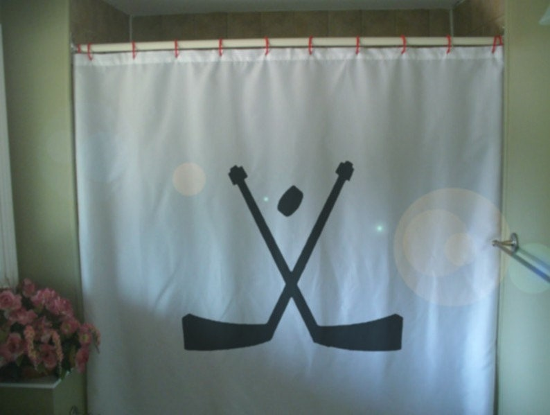 Hockey Sticks Shower Curtain Sport Ice Puck Skate Stick Skater