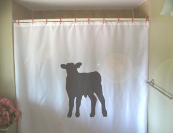 Calf Shower Curtain Baby Cow Cattle Farm Animal Cute Young
