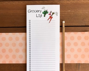 Magnetic Grocery List Notepad | Personalized Grocery Shopping List Notepad for Fridge with Magnet | Kitchen List Pad | 4.25 x 11 | 52 Sheets