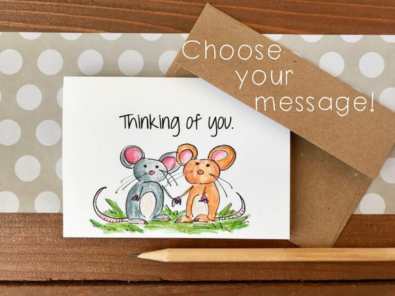 Mice cards choose your message thinking of you cards etsy image 0 m4hsunfo