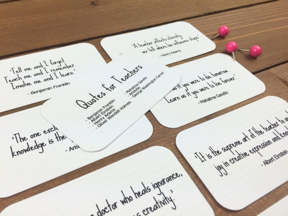 Teacher Quote Cards Back To School Teacher Gift Ideas Etsy