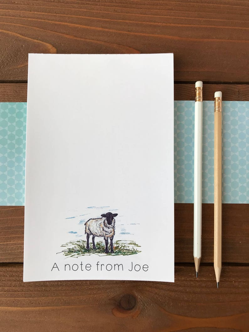 Personalized Notepad Beautiful Ewe Sheep Notepad Magnetic Notepad Cute Sheep 5.5 x 8.5 Gift For Farmer Animal Lover Gift Sheep Art