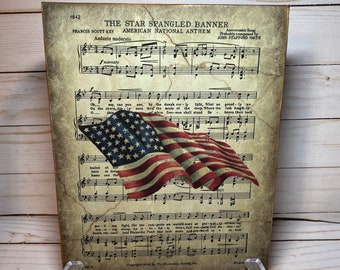 stars and stripes wooden flag banner fourth of July patriotic decor wood banner sign USA wood sign independence day decor