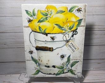 Fresh Lemons Sign, Rustic Bucket of Lemons and Bees Wall Art