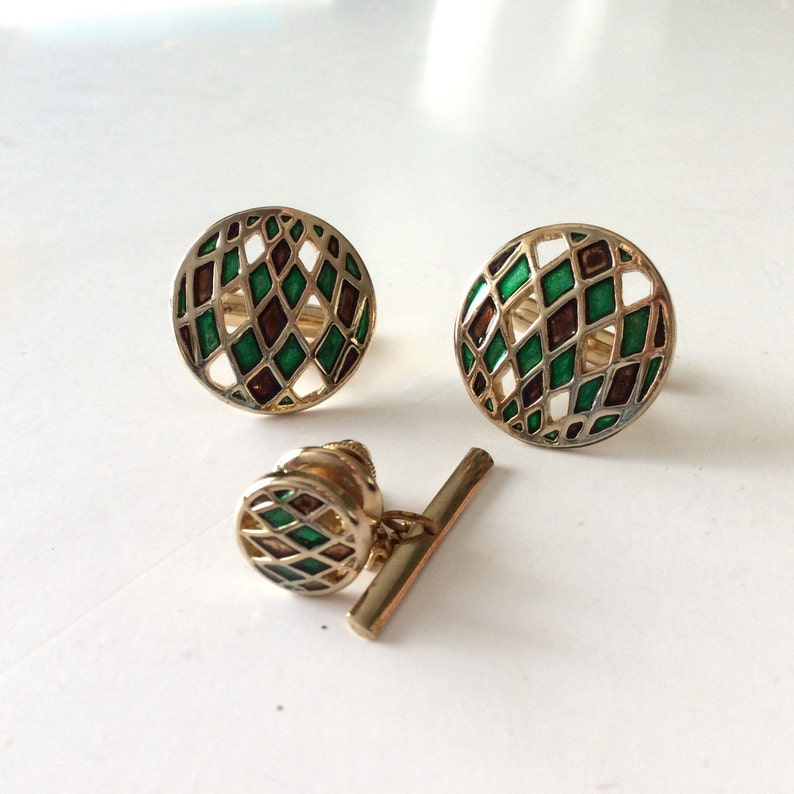 Swank Cuff links Cuff Links with tie tack Man/'s cuff links and tie tack tie tack Swank Cuff Links with matching tie tack cuff link