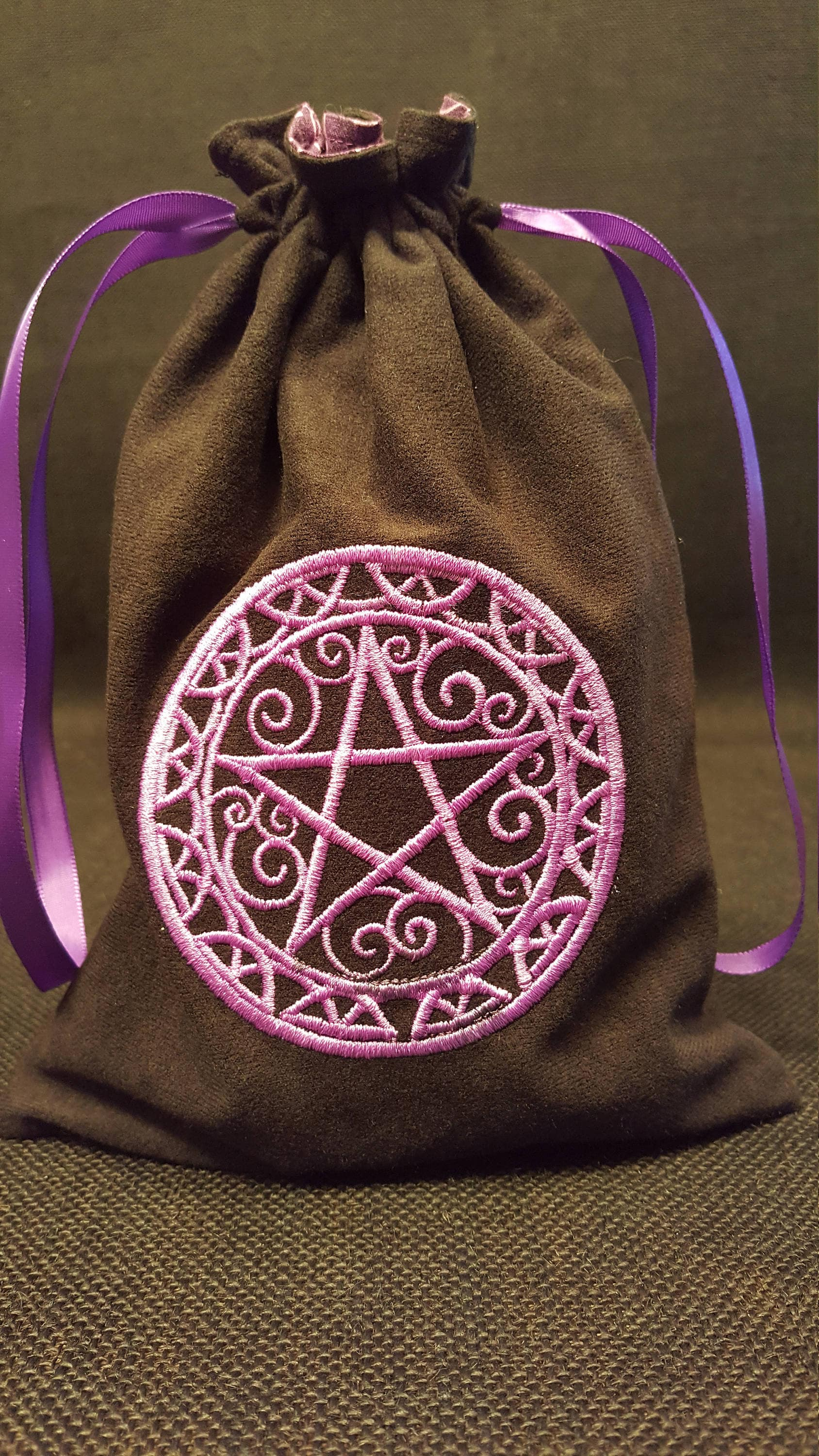 Tarot Bags Tarot Cards Cloths More: Swirly Pentagram In Purple Embroidered Tarot Bag/Pouch