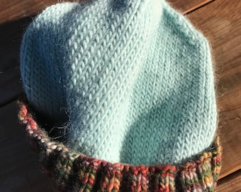 Handknitted Soft as can be... Baby Blue with Earth tones-striped Beanie