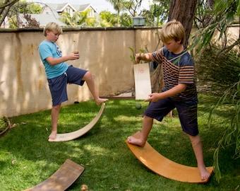 Curvy Board/ Waldorf Rocker Board Golden Oak Finish with Green Sunburst