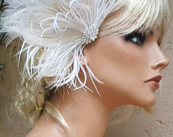 Wedding Bridal Headpiece, Feather Fascinator, Bridal Hairpiece, Rhinestone Vintage Style Wedding Accessories, Hair Accessories Weddings