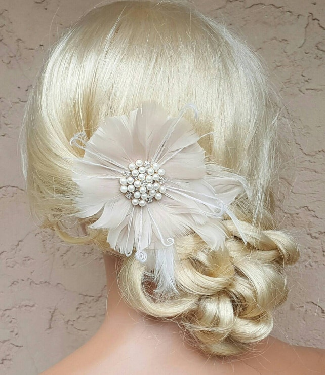 Fascinator, Wedding Hair Clip, Wedding Hair Accessories,Fascinator,Vintage style,Bridal Fascinator,Feather Hair Clip,Wedding Bridal Comb