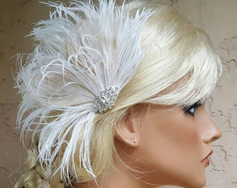 Wedding Fascinator, Feather Hair Clip,  Bridal Hair Fascinator,  Wedding Hair Clip for Brides, Wedding Accessories for Brides, Hair Comb