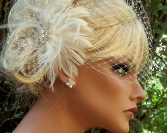 Wedding Fascinator, Bridal Veil, Ivory Fascinator, Wedding Hair Clip, White Fascinator, Wedding Veil, Birdcage Bridal Veil, Wedding Set