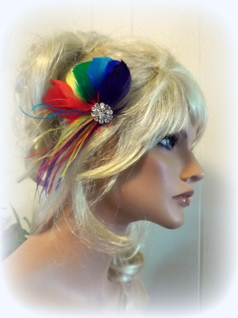 RAINBOW Feather Headpiece Rainbow Wedding Head Piece Rainbow Hair Clip Bridal Fascinator Rainbow Pride Wedding Fascinator