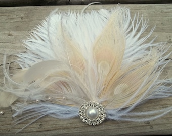 Bridal Fascinator, Wedding Hair Clip, Feather fascinator, Bridal Hair Piece, Wedding Headpiece, Bridal Hair clips, Wedding accessories