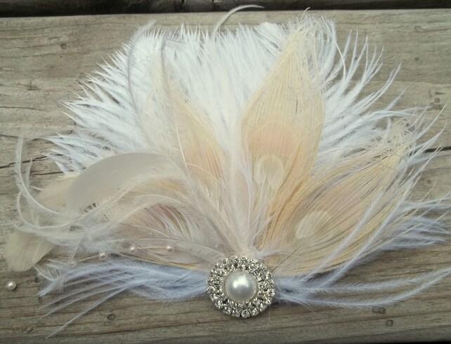 Bridal Fascinator, Wedding Hair Clip, Feather fascinator, Bridal Hair Piece, Wedding Headpiece, Bridal Hair clips, Wedding accessories