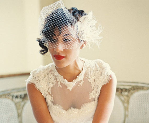 Ivory Wedding Feather Fascinator And French Net Bridal Veil Etsy