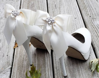 Shoe Clips,  Wedding Shoes Clips,  Bridal Shoes Clips,  Formal Wear Shoes Clips, Bows for Shoes, Wedding Bows,  Bows with Rhinestones