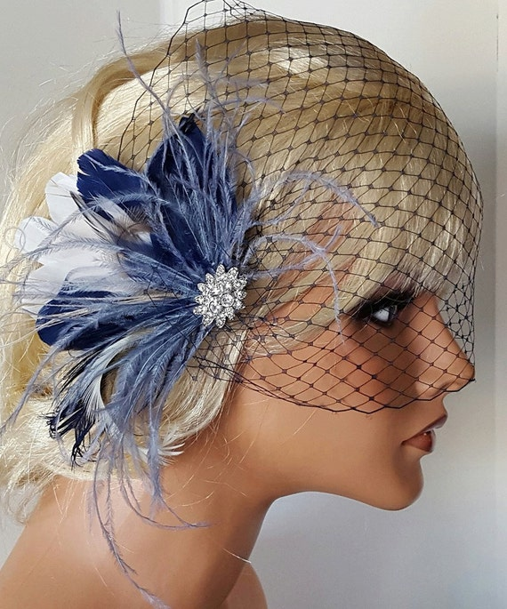 Navy Blue Hair Fascinator AND bandeau bridal veil Wedding  9b953d39c9d
