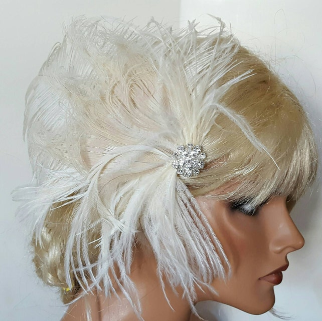 Ivory Bridal Hair Clip  Wedding Fascinator, Ivory  Bridal Comb, Wedding Hair Clip, Bridal Hair accessories,  feather hair clips, ivory bride