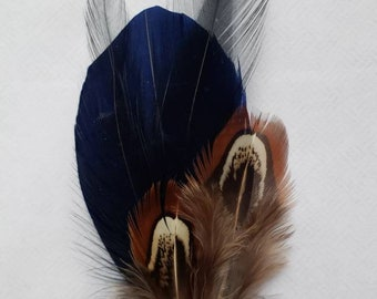 Hat Feathers,  Mens Gifts,  Hat Band Feather,  Fedora Accessories,  Hats Accessory,  Navy Black Pheasant feathers,  Lapel Pins,  Dad, Grampa