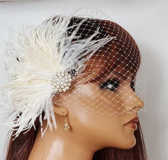 Wedding Fascinator Bridal Veil Ivory Fascinator Wedding Etsy