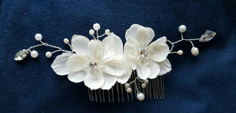 Decorative Comb Rhinestone  Bridal Comb comb Floral Wedding Comb Bridal Hair Comb Wedding Comb Ivory Pearls Comb crystal bridal comb