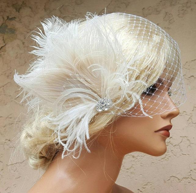 Wedding Feather Headpiece with Bridal Veil,  Large Feather Hair Piece,  Bridal Hair Fascinator, Birdcage Bridal Veils, Wedding Combs