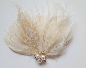 Bridal Fascinator, Wedding Fascinator, French Netting, Bridal Comb, Wedding Hair Comb, Wedding Headpiece, Wedding Comb, Feather Comb