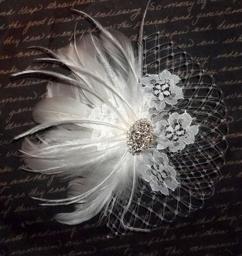 Wedding Head Piece Wedding Hair Clip Wedding Hair Facsinator,Bridal Facsinator,Wedding Hair Accessories Bridal Hair Clip,Feather Hair Clip
