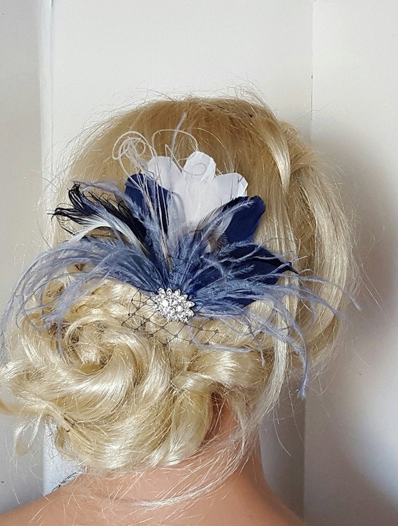 Navy Blue Hair Fascinator Feather accessories Great Gatsby  f3b8737c211