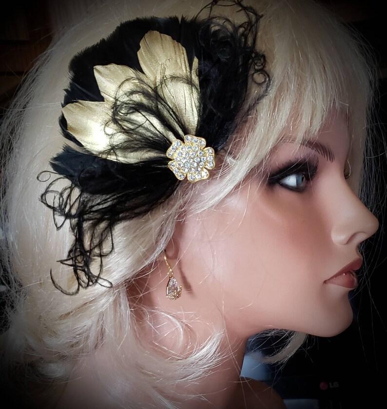 Feather Clip Black Gold Wedding Accessories Feather Hair Clip Bridal Comb Black Gold Feather Wedding Fascinator Bridal Hair Clip