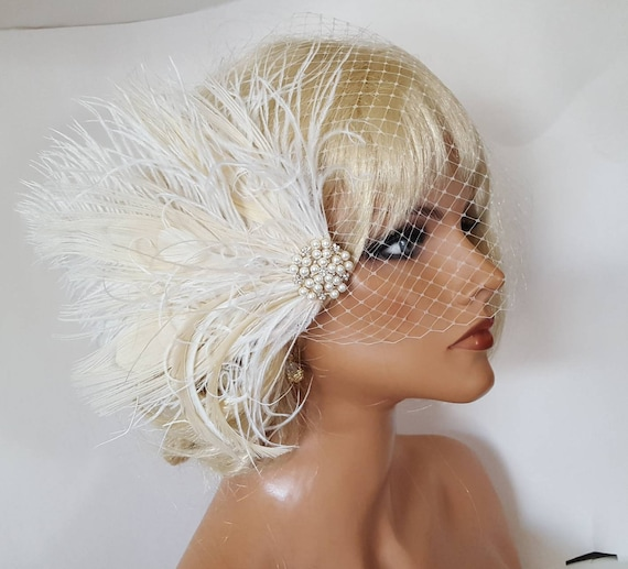 Pretty filet Veil plume fleur Fascinator coiffure broche clip mariage fête