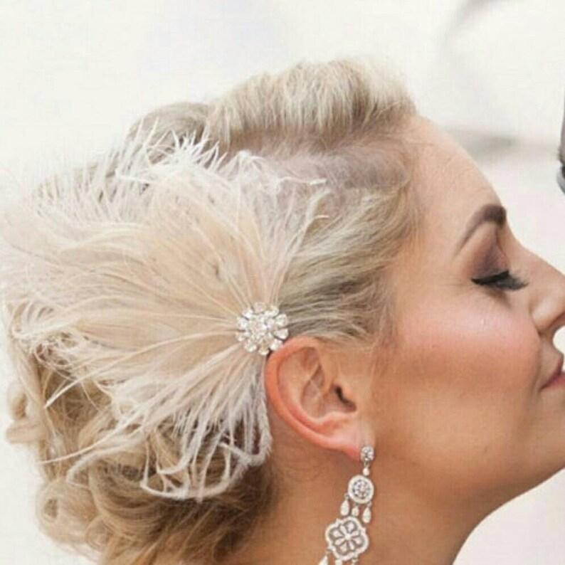 Wedding Fascinator Feather Fascinator Bridal Accessories image 0
