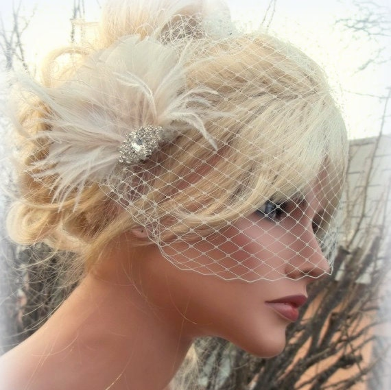 Fascinator with Bridal Veil Great Gatsby Style French Net  a429c2f8fee