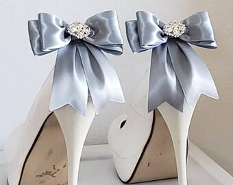 Shoe Clips, Wedding Shoe Clips, Bridal Shoe Clips, Clips for Wedding Shoes, Bridal Shoes, Heels,  Pumps, Satin Bows,  Rhinestone Jewels
