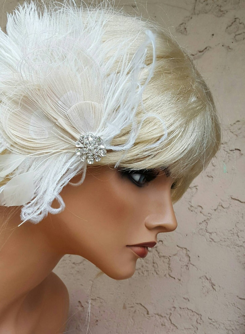 Vintage Style Fascinator Great Gatsby Headpiece Feather Hairpiece Bridal Hair Fascinator Wedding Hair Accessories Bridal Fascinator