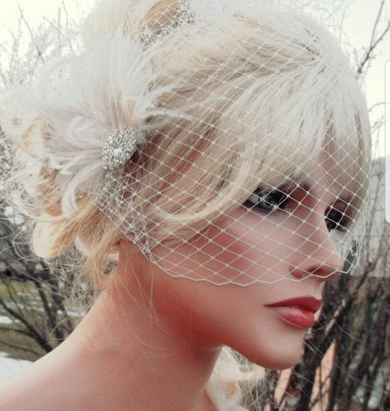 Wedding Headpiece Bridal Veil Great Gatsby Style French Net Etsy
