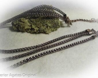 Antique Copper 3 Strand Viking Knit Necklace