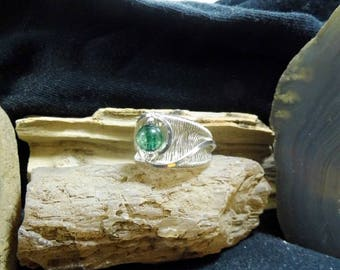 Wire Wrapped Green Tourmaline Silver Solitaire Ring Wide Band size 9 1/2