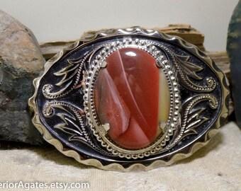 Mookaite Silver Tone Metal Western Gemstone Belt Buckle