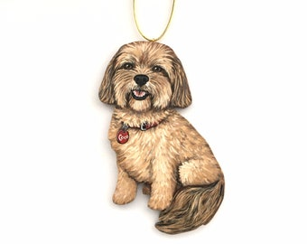 Custom Dog Christmas Ornament - Personalized Pet Portrait Christmas Ornament - Wood Handmade Hand Painted Custom Decoration