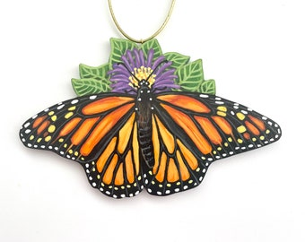 Monarch Butterfly Ornament - Handmade Painted Monarch Wooden Christmas Decorations - Butterfly Gift