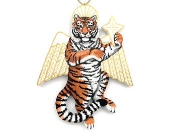 Tiger Angel Ornament - Tiger Christmas Angel - Painted Wood Tiger Angel