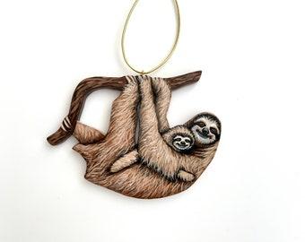 Sloth Ornament - Sloth Mom and Baby Sloth Holiday Ornament - Cute Sloth Christmas Decoration - Handmade Hand Painted Wood Animal Ornament