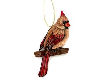 Cardinal Ornament - Female Cardinal Bird Christmas Decoration - Birder Gift - Nature Lover Gift - Realistic Nature Ornament